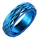 Onefeart Stainless Steel Ring For Men Boy Rhombus Cutting Design Blue Size 10 Personality Cool Male Ring