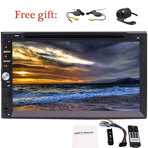 Free Wireless Rear View Camera Parking + 7 Inch Double din 2 Din car DVD cd Player in-Dash Touch Screen Car Radio Stereo Receiver Capacitive Touch Screen 1080P Video headunit car pc Mult