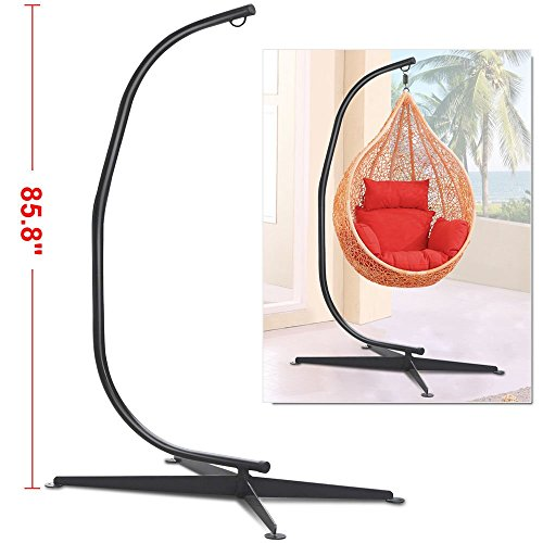 Black Solid Steel C Frame Chair Hammock Stand Construction Porch Swing Hanger Review