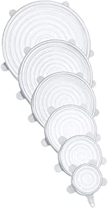 Lordwey 6Pcs Silicone Stretch Lids Reusable Airtight Food Wrap Covers Keeping Fresh Seal Bowl Stretchy Wrap Cover Kitchen Cookware Tools (White)