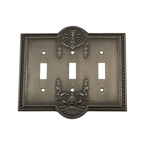 Antique Pewter 1 Toggle - Nostalgic Warehouse 719784 Meadows Switch Plate with Triple Toggle, Antique Pewter