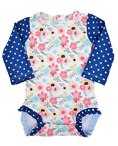 Long Sleeve Rash Guard One Piece Swim Suit for Girls | Baby Toddler Girl Swim Suit with UV40 Sun Protection (6-12 Months, Blossom)