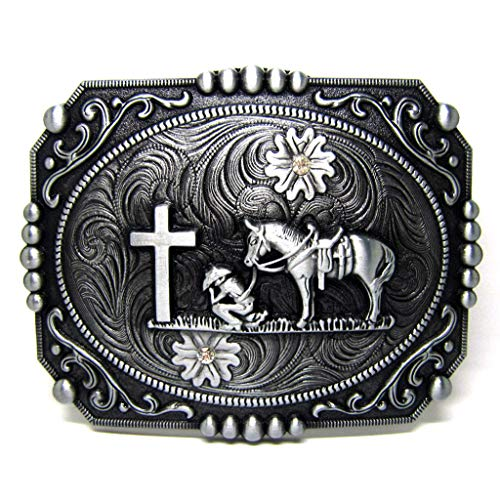(Western Native Religion Cross Retro Belt Buckles Cowboy Horse Horseman Design Buckles for Belts Christmas Gift)