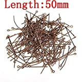 Sellify Red Copper 200pcs 50mm Eye Head Pins for Jewelry Making Jewelry Accessories: Red Copper 50mm
