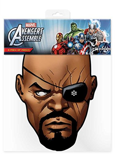 Official Marvel Avengers Assemble Nick Fury Card Face Mask (Nick Fury Costume For Kids)