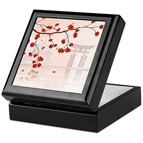 CafePress - Pretty Cherry Blossom Against A Japanese Backgroun - Keepsake Box, Finished Hardwood Jewelry Box, Velvet Lined Memento Box
