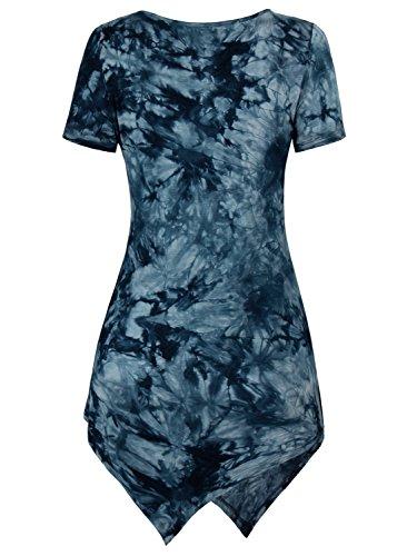 DJT-Mujeres Camiseta Top con Estampado Mangas cortas Azul Marino
