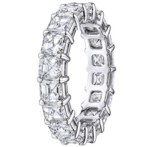 (GJ Inc Platinum Asscher Cut Diamond Eternity Band 8.13cts)