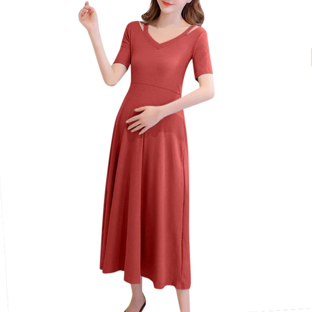 Iusun Women's Maternity Long Dress Casual Solid Short Sleeve Sundress Nursing Breastfeeding Pregnants for Summer Daily Vacation Holiday