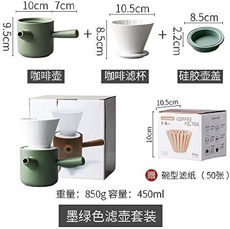 don997gfoh08yewi - Juego de Utensilios de café (Porcelana, Incluye Filtro de cerámica para cafetera de Mano), Color Verde Oscuro: Amazon.es: Hogar