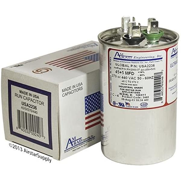 Goodman CAP050600440RTP Replacement Made in The U.S.A. 60 5 uf//Mfd 370//440 VAC AmRad Round Dual Universal Capacitor