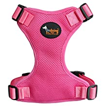 Durable Dog Harness No Pull Harness Easy Walk Harness for Bulldog,Medium Dogs,Large Pink