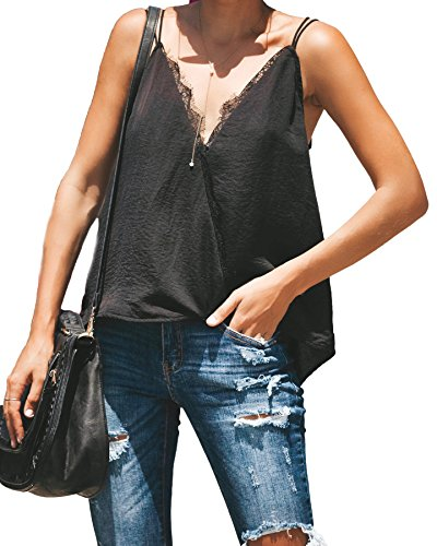 ace Trimmed Cross Over Tank Top Blouse Shirts (Black, XL) ()