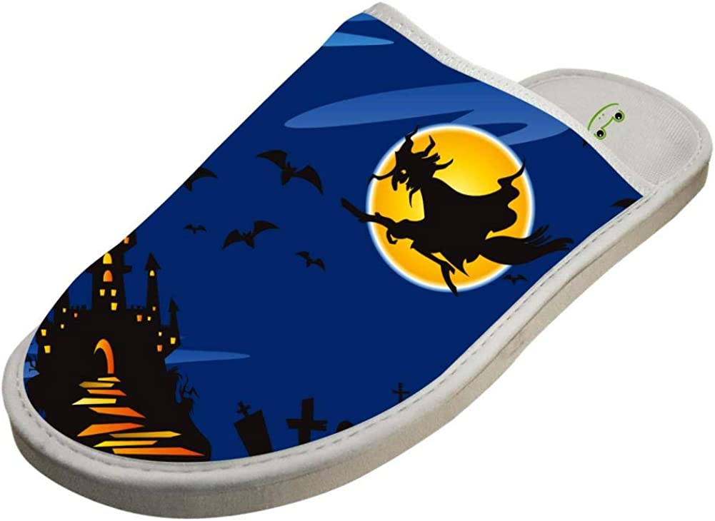 Womens and Mens House Slippers Halloween Witch Couple Sandals Closed Toe Indoor//Outdoor Slip on Shoes