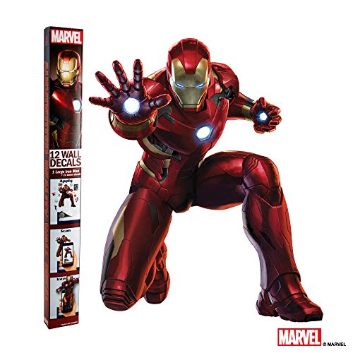 MARVEL IRON MAN VINYL STICKERS - 12 Piece Augmented Reality Marvel Stickers for Kids Rooms - Kids Wall Decals For Bedroom Are Easy To Put Up On Wall & Peel -