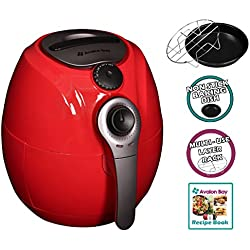 Air Fryer by Avalon Bay, For Healthy Oil-Less Fried Food, 3.7 Quart Capacity, Includes Free Airfryer Baking Set and Recipe Book, Red, AB-Airfryer100R