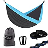 "Double Camping Hammock - Lightweight Nylon Portable Hammock, Best Parachute Double Hammock with Tree Straps For Outdoor Backpacking, Camping, Travel, Beach, Yard. 126""(L) x 78""(W) Xtra -large"