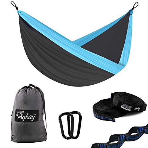 """Camping Hammock for Two- Lightweight Nylon Portable Hammock, Tree Double Hammock with Tree Straps for Outdoor Backpacking, Camping, Travel, Beach, Yard. 126""""(L) x 78(W) Xtra -Large"""