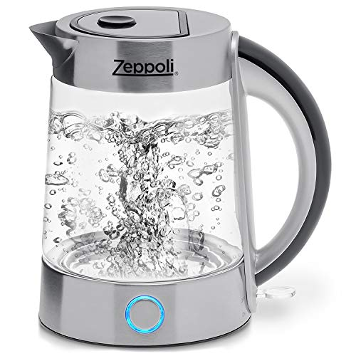 (Zeppoli Electric Kettle (BPA Free) - Fast Boiling Glass Tea Kettle (1.7L) Cordless, Stainless Steel Finish Hot Water Kettle - Glass Tea Kettle, Tea Pot - Hot Water Heater Dispenser)