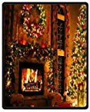 Home Fashions design Fleece Blanket Throw 40'' x 50'' (small) Size with Peaceful Christmas Eve Fireplace Background