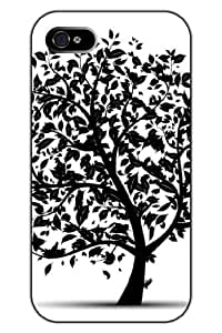 SPRAWL Unique Creative Design Skech of Black Flying Leaves Snap on Protective iPhone 5s Case Tree Bird