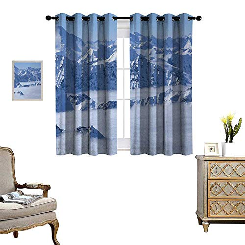 (Anyangeight Mountain Window Curtain Drape Fantasy Dream Land Over The Austrian Alps Summit Climate Skiing Snowfall Fir Theme Decorative Curtains for Living Room W55 x L72 White)