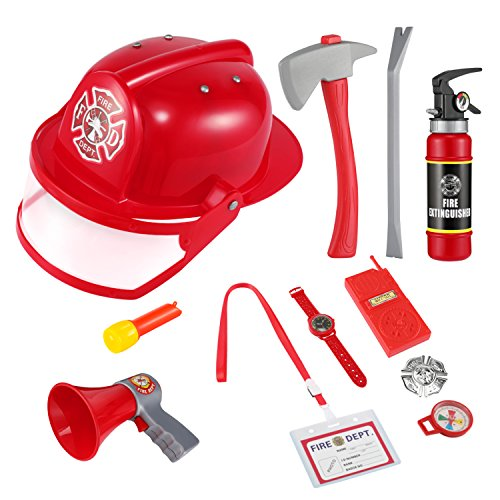 Costume Role Playset (Firefighter toys, Magicfly 11 Pcs Fireman Gear Fireman Costume Role Play Toy with Helmet and Accessories for Christmas, Party)