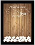 Tamengi Personalized Wedding Guest Book,Custom Name & Date Infinite Love Guestbook Alternative Wood Drop Top Frame Wedding Guest Book Box Rustic Unique 150Pcs Hearts Decor