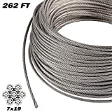 7 32 stainless steel cable - LOMETY T316 Stainless Steel Aircraft Wire Rope Cable for Railing,DIY Balustrade,Decking,7x19,5/32 Inch,262 Feet