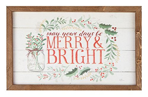 P. Graham Dunn Days Be Merry & Bright Holly Wreath 18 x 11.5 Christmas Farmhouse Frame Wall Plaque (Be Bright Be Merry)