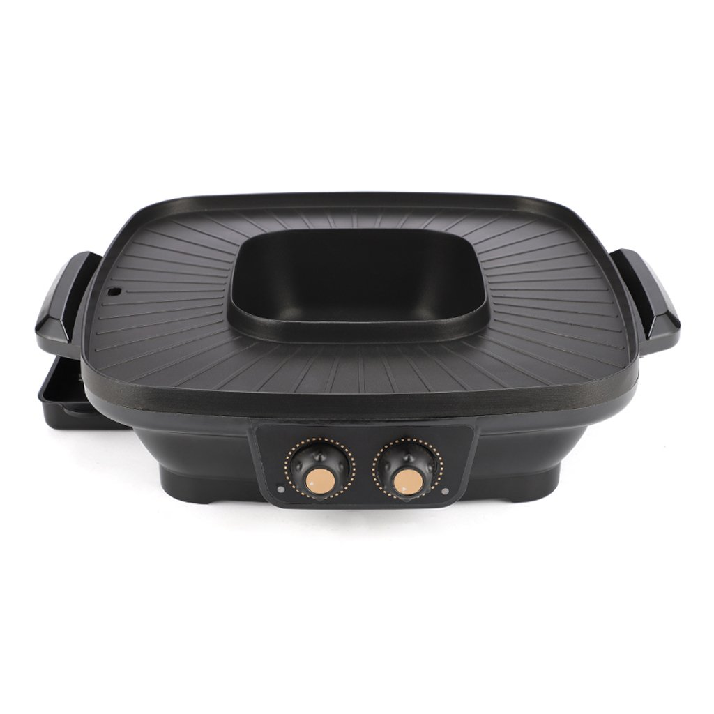 QIANDING SKJ Barbecue Grill Hot Pot Grill Electric Household One-Piece Oven Non-Stick Pan Smokeless 38×11cm Barbecue (Color : A) by QIANDING