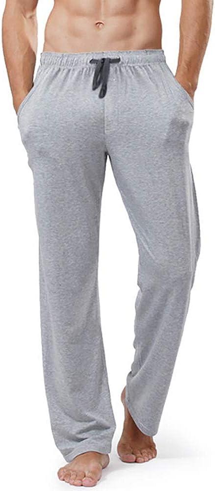 Clicks Pantalones de Pijama para Hombre Pantalones Largos de Dormir 100% algodón Hombre pantalón de Color sólido Cordón con 2 Bolsillos