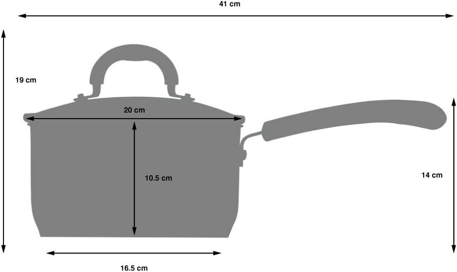 Induktion 14 cm 1 l mit Antihaftbeschichtung mit Abgie/ßdeckel aus Glas und Sch/üttrand Stay-Cool Silikongriff Milchtopf mit Deckel ProCook Gourmet Non-Stick Stielkasserolle