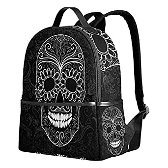 ALAZA Day of the Dead Skull Paisely Polyester Backpack School Travel Bag