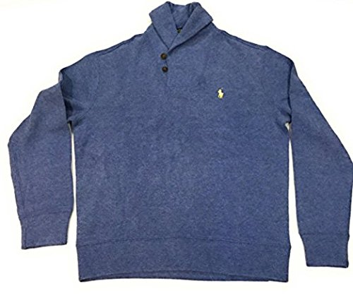 Polo Ralph Lauren Mens French Rib Shawl Neck Sweater (Small, Blue)
