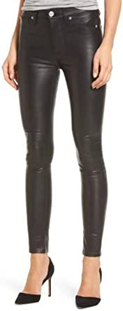 Women Real Lamb Leather Slim Fit Pants Slim Leather Pants With Stitching Detail