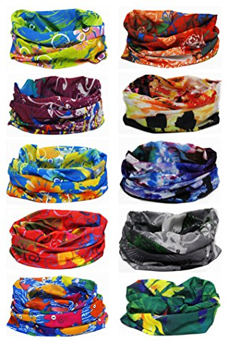 Unisex Cowboy Biker Sports Fitness Multipurpose Watercolor Variety Head Wrap Fashion Scarf Tube Face Mask Bandanas[Set of 10]