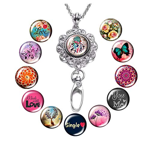 Lanyard Necklace Snap Button Charm Necklace Office Lanyard ID Badges Holded Filigree Round Pendant Necklace Clip (L-Multi Theme) ()