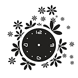 Happy Hours - Stylish Little Flower Wall Clock / Creative DIY Mirror Home Decor Watch / 3D Frameless Wall Sticker Design Bell for Cafe Bedroom Living Room Dormitory(Black)