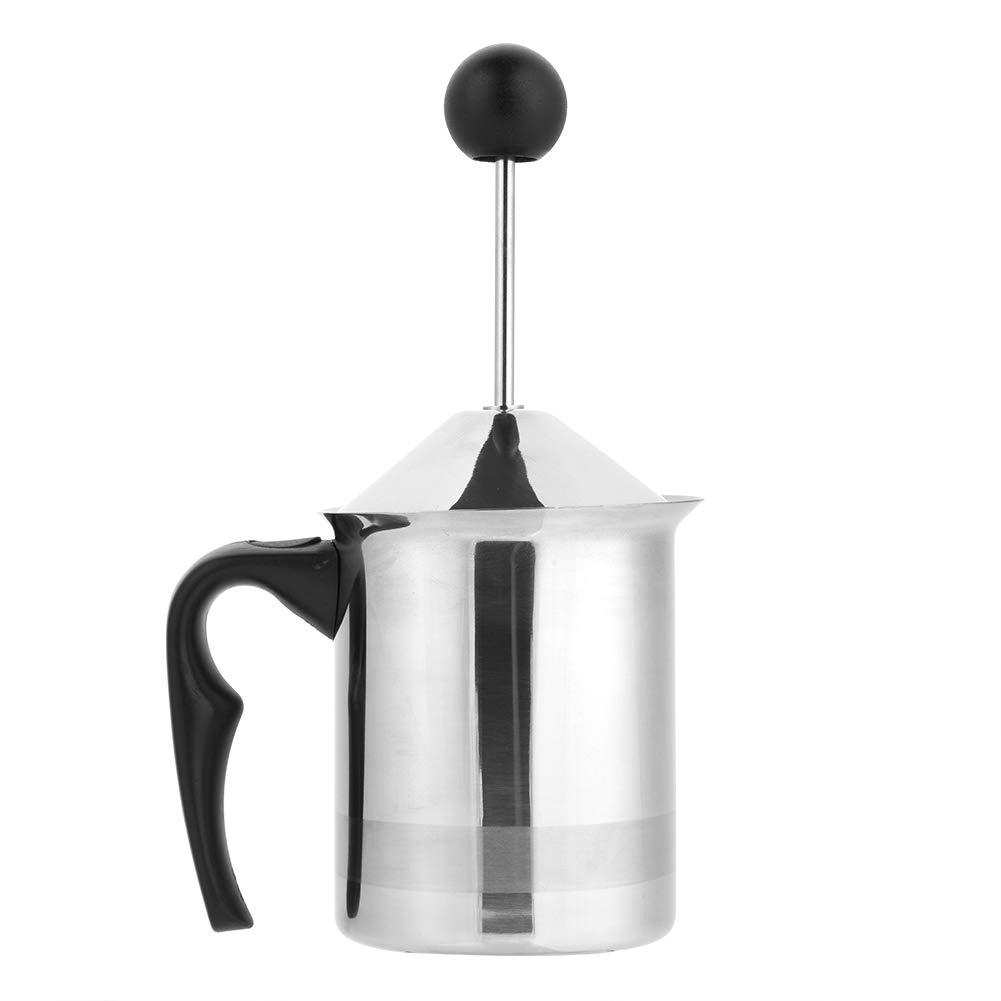Montalatte Latte Manuale, In Acciaio Inox con Ugello Manuale con Doppietta Incorporata in Schiuma di Latte, Schiumarola per Caffè, con Manico e Coperchio (400ml) Aramox