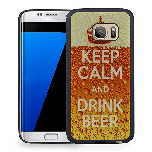 S7 Edge Case Samsung Galaxy S7 Edge Black Cover TPU Rubber Gel - Keep Calm And Drink Beer ()