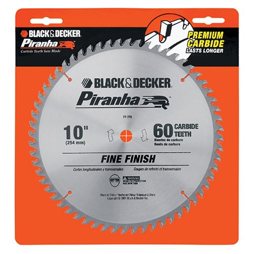 Black & Decker 77-770 Piranha 10-Inch 60 Tooth ATB Saw Blade with 5/8-Inch Arbor (Black And Decker Professional 10 Miter Saw)