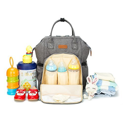 Milk Glass Nappy (Diaper Bag, Large Capacity Suitable for Travel, Water-proof Tote Bags&Backpack for Mommy, Organizer for baby 14.2''L x 3.1'' W x 14.9'' H, Gray)