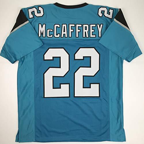 (Unsigned Christian McCaffrey Carolina Blue Custom Stitched Football Jersey Size Men's XL New No Brands/Logos )