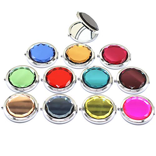 TANG SONG 12Pcs Different Colors Double Compact Cosmetic Makeup Round Pocket Purse Magnification Jewel Mirror -