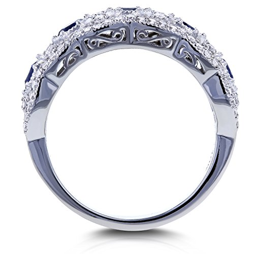 Blue Sapphire and Diamond Anniversary Ring 10k White Gold