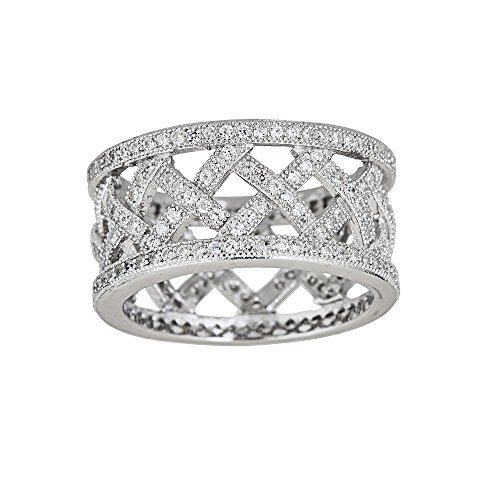 Decadence Sterling Silver Cubic Zirconia Pave Basketweave Eternity Band Fashion Ring