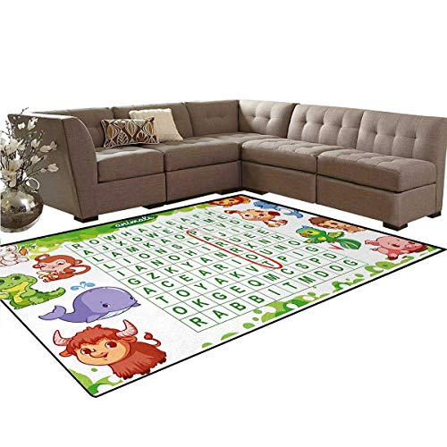 Word Search Puzzle,Floor Mat,Educational Game for Kids Children Cute Sweet Animals Worksheet Print,Anti-Skid Area Rug,Multicolor,6'x9'