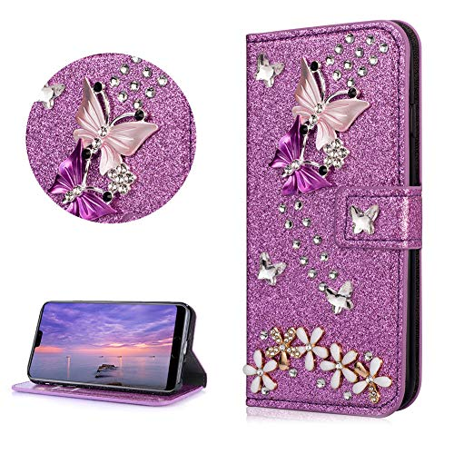 Crystal Diamond Glitter Leather Wallet Case for HUAWEI Mate 20 Lite,DasKAn Butterfly Flower 3D Rhinestone Bling Folio Flip Cover with Card Holder Magnetic Closure Stand Protective Phone Case,Purple