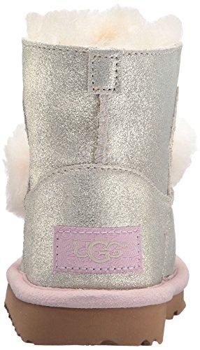 Ugg - Platinfarbene Stiefelette Aus Metallic-Leder, mit flauschigem Lammfell Gefüttert, Mädchen